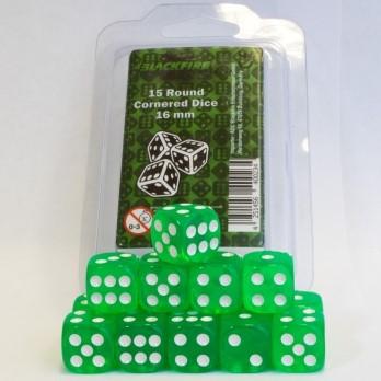 Dobbelstenen 16mm - Transparant Groen (15 stuks)