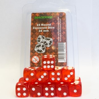 Dobbelstenen 16mm - Transparant Rood (15 stuks)