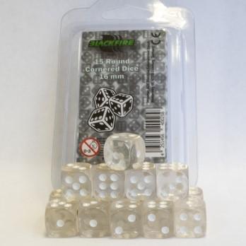 Dobbelstenen 16mm - Transparant Wit (15 stuks)