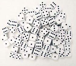 Dobbelstenen 16mm - Wit (100 stuks)