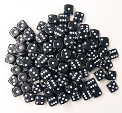 Dobbelstenen 16mm - Zwart (100 stuks)