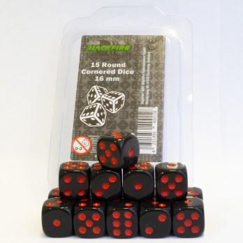 Dobbelstenen 16mm - Zwart met rode Stippen (15 stuks)
