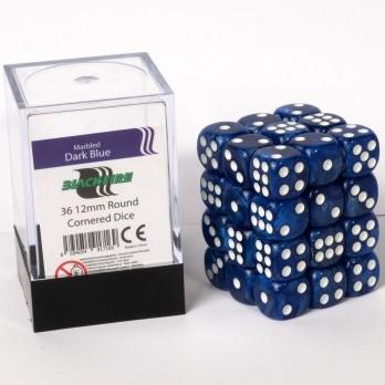 Marble Dobbelstenen 12mm - Donker Blauw (36 stuks)