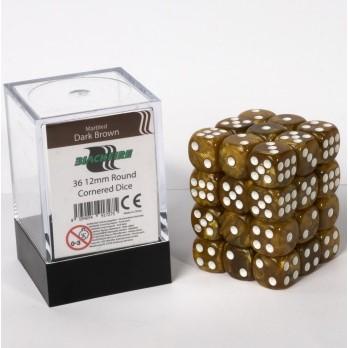 Marble Dobbelstenen 12mm - Donkerbruin (36 stuks)