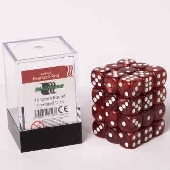 Marble Dobbelstenen 12mm - Glimmend Rood (36 stuks)