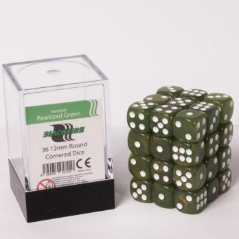 Marble Dobbelstenen 12mm - Glimmend Groen (36 stuks)