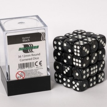 Marble Dobbelstenen 12mm - Zwart (36 stuks)