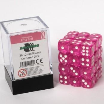 Doorzichtige Dobbelstenen 12mm - Magenta (36 stuks)