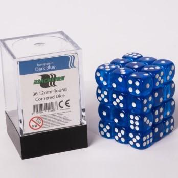Doorzichtige Dobbelstenen 12mm - Donkerblauw (36 stuks)