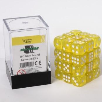Doorzichtige Dobbelstenen 12mm - Geel (36 stuks)