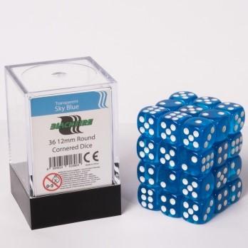 Doorzichtige Dobbelstenen 12mm - Hemelblauw (36 stuks)