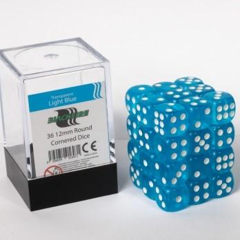 Doorzichtige Dobbelstenen 12mm - Lichtblauw (36 stuks)