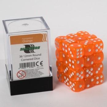 Doorzichtige Dobbelstenen 12mm - Oranje (36 stuks)
