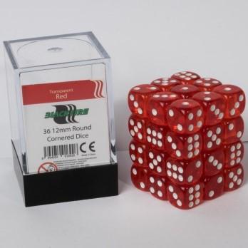 Doorzichtige Dobbelstenen 12mm - Rood (36 stuks)