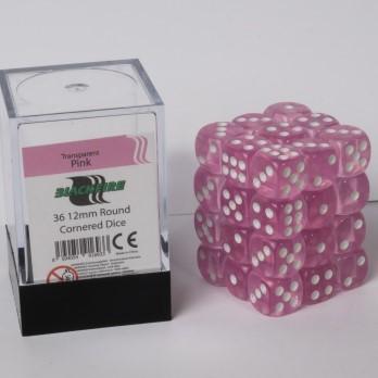 Doorzichtige Dobbelstenen 12mm - Roze (36 stuks)