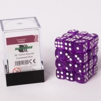 Doorzichtige Dobbelstenen 12mm - Violet (36 stuks)