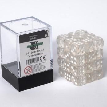 Doorzichtige Dobbelstenen 12mm - Wit (36 stuks)