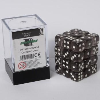Doorzichtige Dobbelstenen 12mm - Zwart (36 stuks)