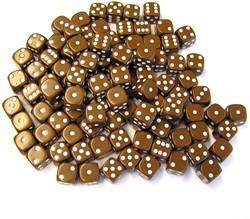 Dobbelstenen 16mm Bruin (100 stuks)