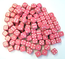 Dobbelstenen 16mm - Roze (100 stuks)