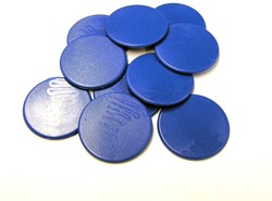 Grote Spel Fiches 38mm Blauw (10 stuks)