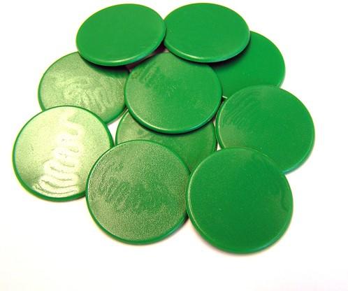 Grote Spel Fiches 38mm Groen (10 stuks)