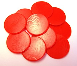 Grote Spel Fiches 38mm Rood (10 stuks)