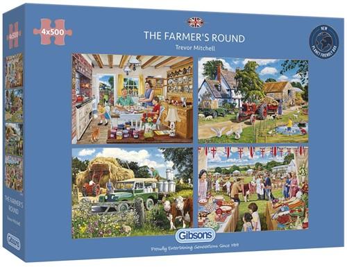 The Farmer's Round Puzzel (4 x 500 stukjes)
