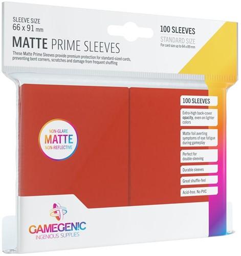 Prime Matte Sleeves 66x91mm Rood (100 stuks)