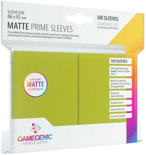 Prime Matte Sleeves 66x91mm Lime Groen (100 stuks)