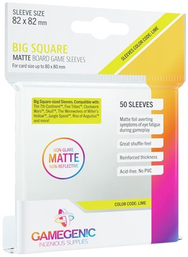 Sleeves Matte Big Square-Sized 82x82mm (50 stuks)