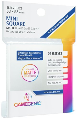 Sleeves Matte Mini Square-Sized 53x53mm (50 stuks)