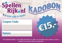 Spellenrijk Kadobon € 15,- Per Post