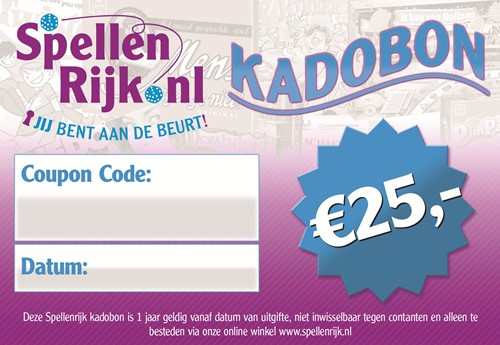 Spellenrijk Kadobon € 25,- Per Post