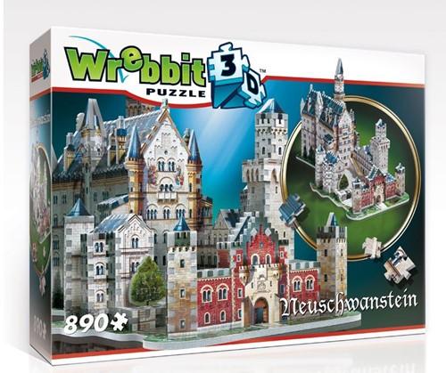 Wrebbit 3D Puzzel - Neuschwansten kasteel (890 stukjes)-1