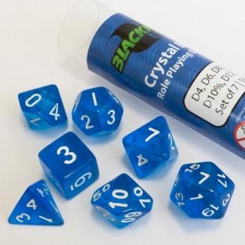 Polydice dobbelstenen 16mm - Doorzichtig Blauw (7 stuks)