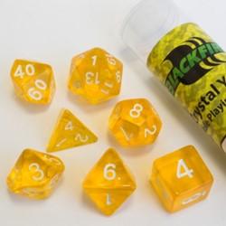 Polydice dobbelstenen 16mm - Doorzichtig Geel (7 stuks)