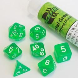Polydice dobbelstenen 16mm - Doorzichtig Groen (7 stuks)