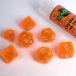 Polydice dobbelstenen 16mm - Doorzichtig Oranje (7 stuks)