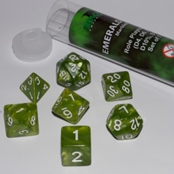 Polydice Marble Dobbelstenen 16mm - Emerald Green (7 stuks)