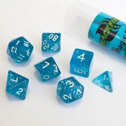 Polydice dobbelstenen 16mm - Magisch Blauw (7 stuks)