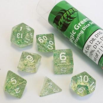 Polydice dobbelstenen 16mm - Magisch Groen (7 stuks)