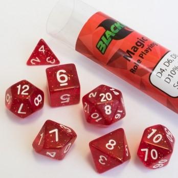 Polydice dobbelstenen 16mm - Magisch Rood (7 stuks)