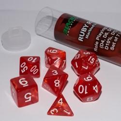 Polydice Marble Dobbelstenen 16mm - Ruby Red (7 stuks)
