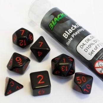 Polydice dobbelstenen 16mm - Zwart Met Rode Nummers (7 stuks)