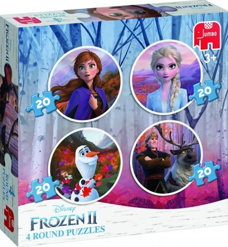 Frozen 2 – 4 in 1 Ronde Puzzels