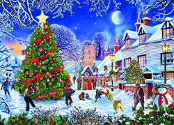 The Village Christmas Tree XL Puzzel (500 stukjes)