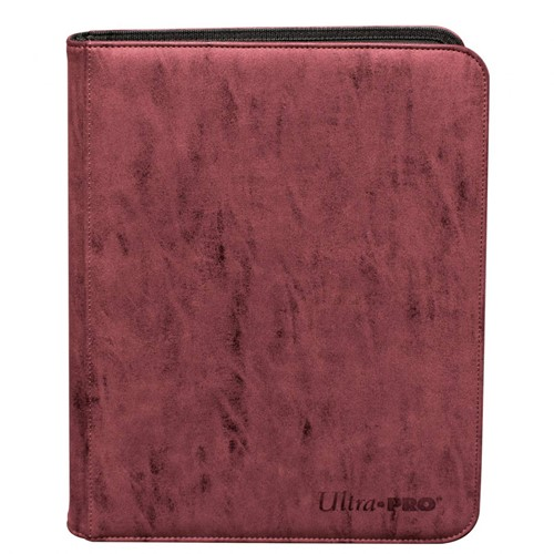 Zippered Suede 9-Pocket Pro-Binder - Ruby Red