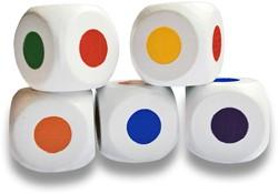 Houten Kleurendobbelstenen Stip - 16mm (5 stuks)